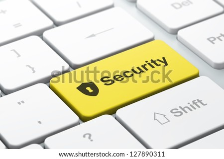 Privacy concept: computer keyboard with Shield With Keyhole icon and word Security, selected focus on enter button, 3d render