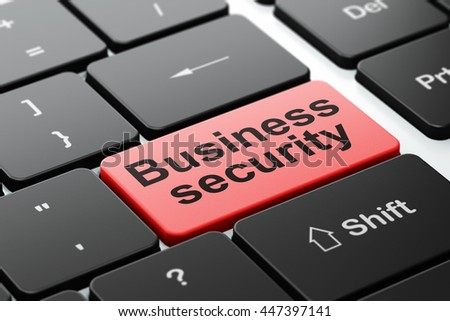 Privacy concept: computer keyboard with word Business Security, selected focus on enter button background, 3D rendering - stock photo