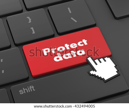 Privacy concept: computer keyboard with word Data Protection on enter button background, 3d rendering - stock photo