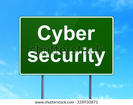 Privacy concept: Cyber Security on green road (highway) sign, clear blue sky background, 3d render - stock photo