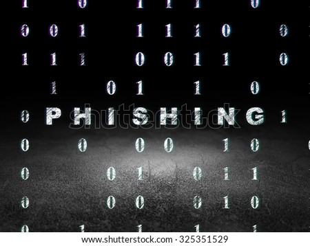 Privacy concept: Glowing text Phishing in grunge dark room with Dirty Floor, black background with Binary Code - stock photo