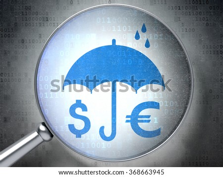 Privacy concept: Money And Umbrella with optical glass on digital background