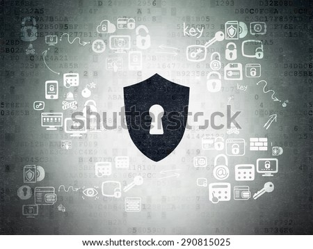 Privacy concept: Painted black Shield With Keyhole icon on Digital Paper background with Scheme Of Hand Drawn Security Icons, 3d render - stock photo