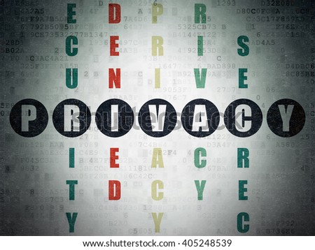 Privacy concept: Painted black word Privacy in solving Crossword Puzzle on Digital Paper background - stock photo