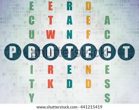 Privacy concept: Painted blue word Protect in solving Crossword Puzzle on Digital Data Paper background - stock photo