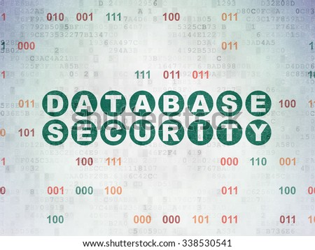 Privacy concept: Painted green text Database Security on Digital Paper background with Binary Code - stock photo
