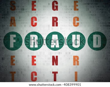 Privacy concept: Painted green word Fraud in solving Crossword Puzzle on Digital Paper background - stock photo