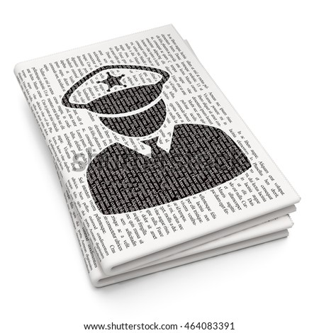 Privacy concept: Pixelated black Police icon on Newspaper background, 3D rendering