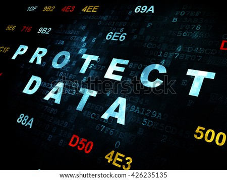 Privacy concept: Pixelated blue text Protect Data on Digital wall background with Hexadecimal Code - stock photo