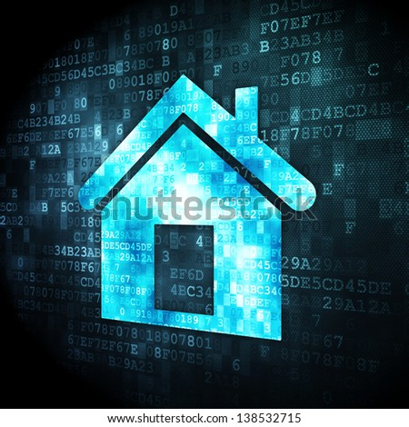 Privacy concept: pixelated Home icon on digital background, 3d render