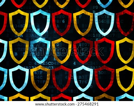 Privacy concept: Pixelated multicolor Contoured Shield icons on Digital background, 3d render - stock photo