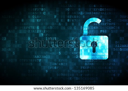 Privacy concept: pixelated Opened Padlock icon on digital background, empty copyspace for card, text, advertising - stock photo