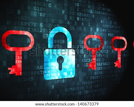 Privacy concept: pixelated Padlock And Key icon on digital background, 3d render