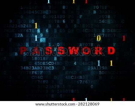 Privacy concept: Pixelated red text Password on Digital wall background with Binary Code, 3d render - stock photo