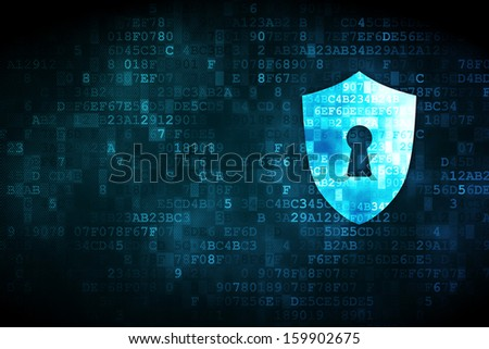 Privacy concept: pixelated Shield With Keyhole icon on digital background, empty copyspace for card, text, advertising, 3d render - stock photo