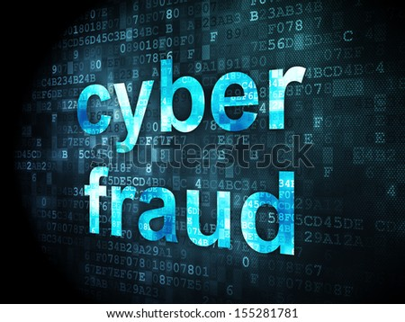 Privacy concept: pixelated words Cyber Fraud on digital background, 3d render