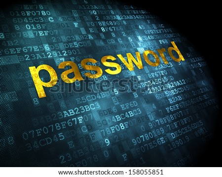 Privacy concept: pixelated words Password on digital background, 3d render
