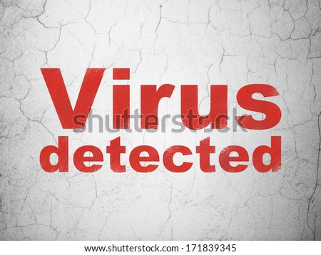 Privacy concept: Red Virus Detected on textured concrete wall background, 3d render
