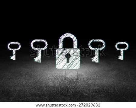 Privacy concept: row of Glowing key icons around closed padlock icon in grunge dark room Dirty Floor, dark background, 3d render - stock photo