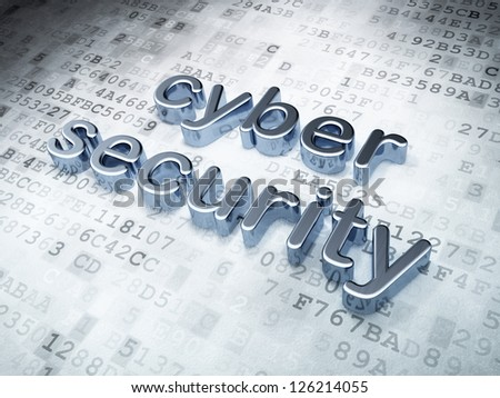 Privacy concept: Silver Cyber Security on digital background, 3d render - stock photo
