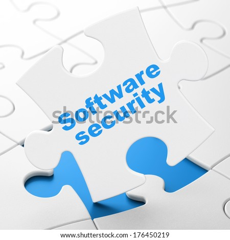 Privacy concept: Software Security on White puzzle pieces background, 3d render - stock photo