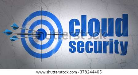 Privacy concept: target and Cloud Security on wall background - stock photo