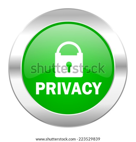 privacy green circle chrome web icon isolated