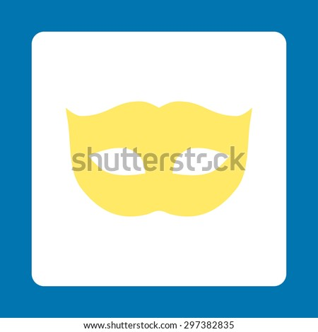 Privacy Mask icon from Primitive Buttons OverColor Set. This rounded square flat button is drawn with yellow and white colors on a blue background.
