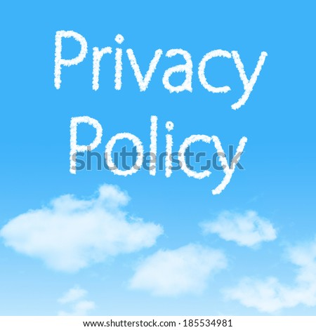 Privacy Policy cloud icon with design on blue sky background - stock photo