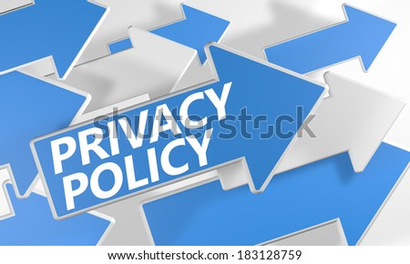 Privacy Policy 3d render concept with blue and white arrows flying over a white background. - stock photo