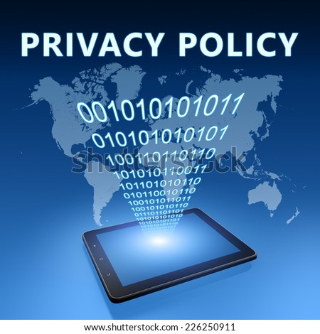 Privacy Policy illustration with tablet computer on blue background - stock photo