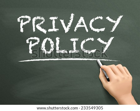 privacy policy words written by hand on blackboard - stock photo