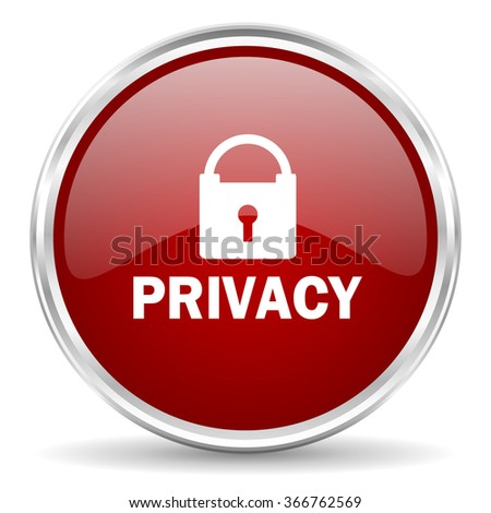 privacy red glossy circle web icon