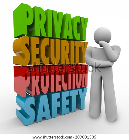 Privacy, security, protection and safety 3d words beside a person thinking about keeping personal information and data safe from theft and hacking - stock photo