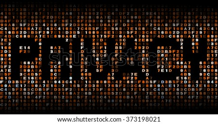 Privacy text on hex code illustration - stock photo