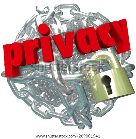 Privacy word in red 3d letters on a ball or sphere of metal chain links and a lock as secured information or sensitive personal data or details not shared - stock photo