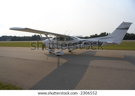 Private Aircraft on the Runway - stock photo