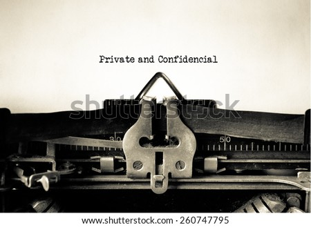 Private and Confidential typed on vintage typewriter - stock photo