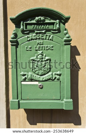 Private antique letter box for incoming mail in Ravenna, Italy - stock photo