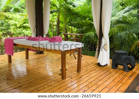 private area of the massage in tropical garden - stock photo