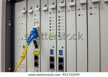 Private Automatic Branch eXchange telephone system. PABX cable fiber . selective focus - stock photo