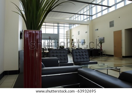 Private Aviation Terminal The interior of a new private aviation terminal. Horizontal. - stock photo