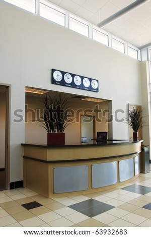 Private Aviation Terminal The interior of a new private aviation terminal. Vertical. - stock photo