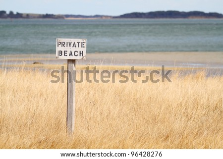 Private Beach Sign - stock photo