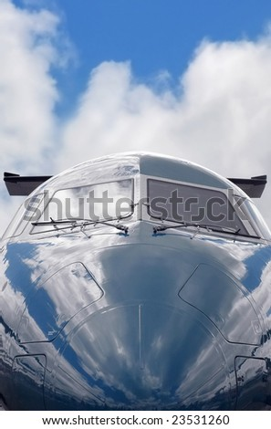 private business jet close-up (gray sky background also available - image ref: 15497461 - stock photo