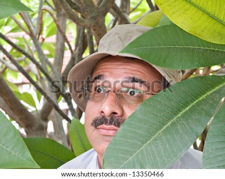 Private detective with sun hat hiding in the bushes - stock photo