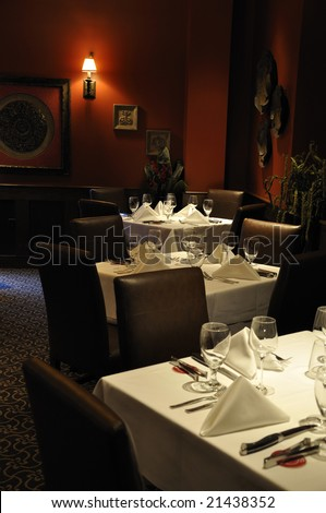 Private dining room at Brazilian steakhouse - stock photo