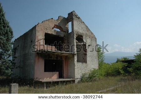 private home near Mostar in Bosnia which was attacked by serbs who killed the family inside - stock photo