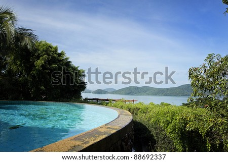 Private Horizontal Pool with Sea and Mountain View - stock photo