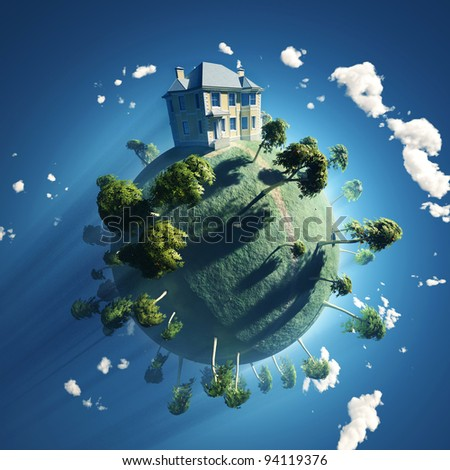 private house on small planet - stock photo